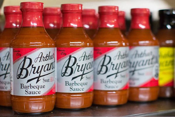 Arthur Bryant's Sweet Hot Barbeque Sauce on a retail shelf