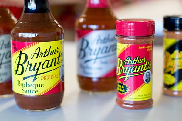 Retail bottles of Arthur Bryant's sauce and seasoning