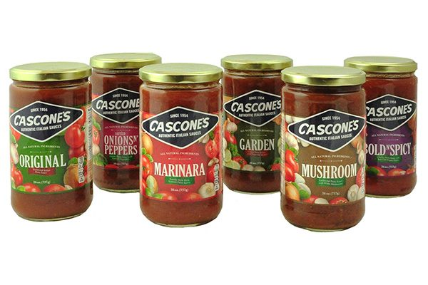 Six varieties of Cascone's Pasta Sauce including Original, Onions N'Peppers, Marinara, Garden, Mushroom and Bold N'Spicy