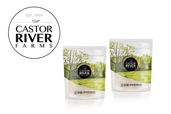 Castor River Farms retail bags of white and brown rice