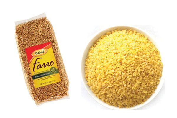 Bag of Roland Farro and a bowl of uncooked bulgur wheat