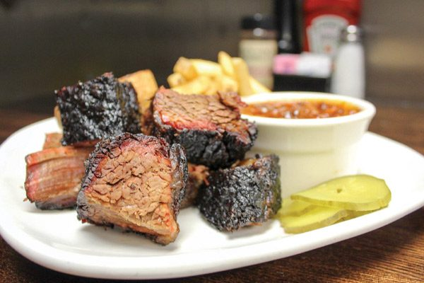 Barbecue burnt ends on a plate