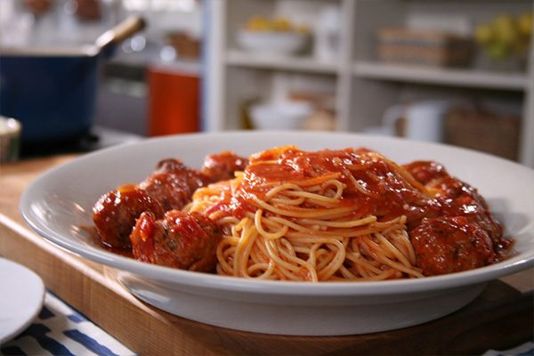 A plate of meatballs and spaghetti made by Lidia