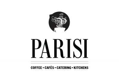 Parisi logo with four branches of business listed underneath: coffee, cafes, catering and kitchens