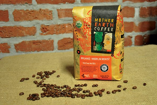 Retail bag of Mother Earth Coffee organic medium roast coffee