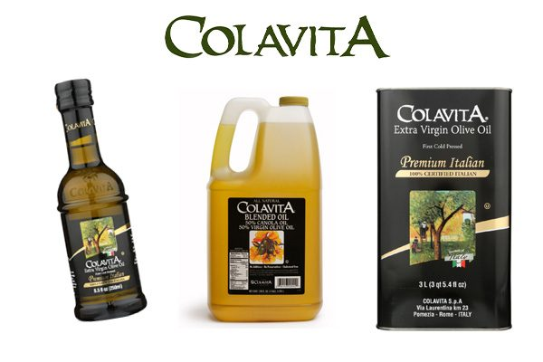 Retail bottle, jug and tin of Colavita Extra Virgin Olive Oils