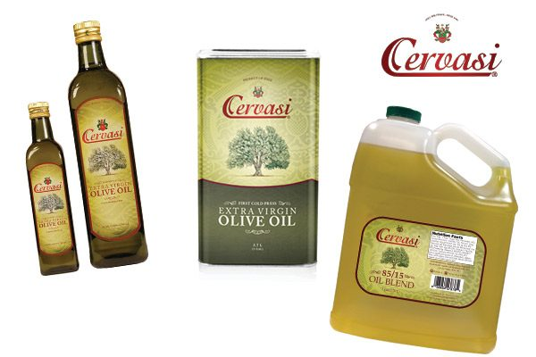 Cervasi Extra Virgin Olive Oil retail bottles and quart tin with a gallon jug of blended Cervasi olive oil