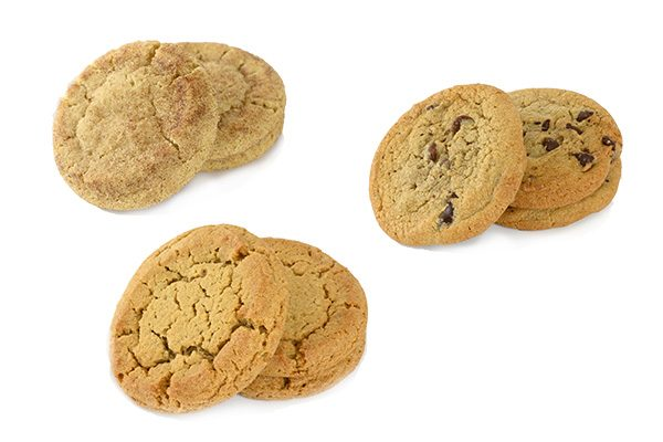 Snickerdoodle, Chocolate Chip and Peanut Butter Cookies in stackso on white background