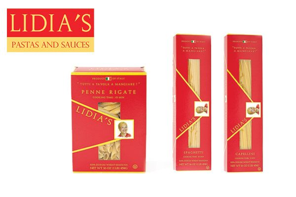 Retail packages of Lidia's pasta