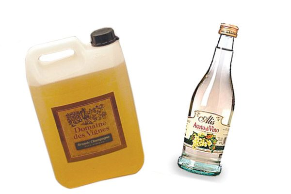 Jug and bottle of specialty imported vinegars